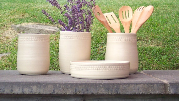 Pottery Utensil HolderCeramic Kitchen Tool Holder Wedding
