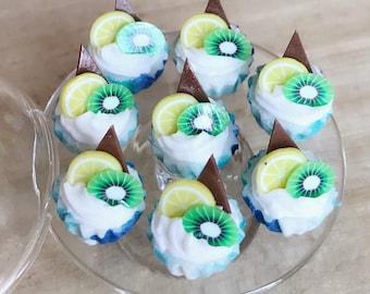 10 Miniature Fruit Cupcake,Miniature Fruit cake,Miniature cupcakes,miniature sweet,miniature bakery,Dollhouse cake,Kiwi,Chocolate