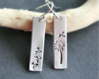 Dandelion Flower Earrings, Sterling silver Bar Dangle Drop Earrings, Dandelion Jewelry, Dandelion Parachutes Earrings,Hand Stamped Earrings