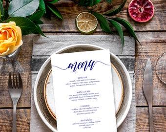 Menu cards template, 5x7 printable menu template, Blank menu template, Sample menu template, Navy blue wedding menu templates, Editable PDF