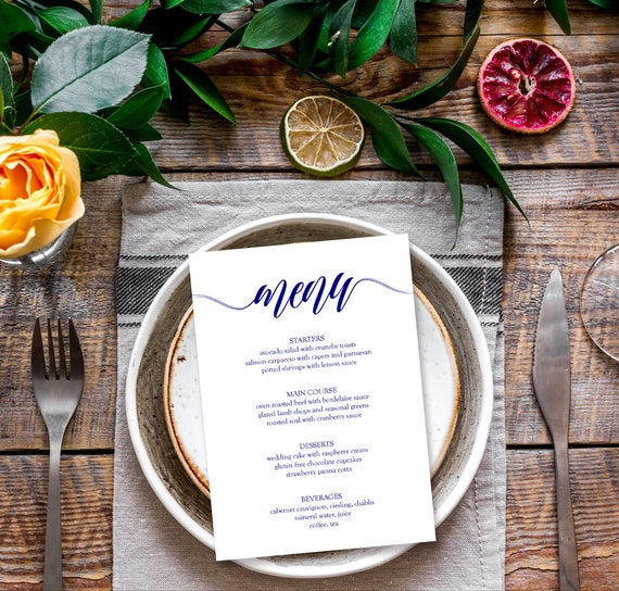 Menu Cards Template X Printable Menu Template Blank Menu