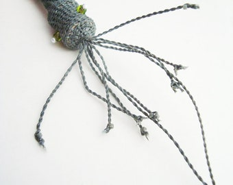 Squid Necklace Handwoven Fiber, Weird Necklace, Cephalopod, Jellyfish, Sea Monster, Beach Necklace, Choice of Colors