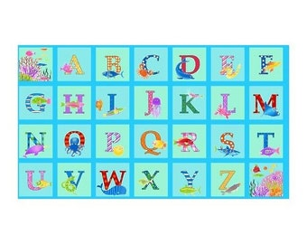 Aqua Alphabet Fish Panel 23in x 44in Cotton Fabric From Studio E