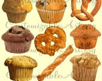 Muffin Clipart Digital Muffin Breakfast Clip Art Images Pretzel Chip Stick Twist Chocolate Banana Nut Blueberry Bakery Muffins Food Graphics