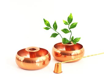 Mid Century Copper and Brass Candlestick Set / Coppercraft Guild Candle Holder Set / Copper and Brass Candle Snuffer Set