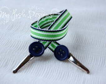 On-the-Go Bib Clip / Nursing Cover Clips Navy Lime Surfboard