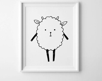Nursery animal art, sheep print, lamb nursery art, lamb print, farm animals, nursery print, baby animals, kids nursery wall art, kids art