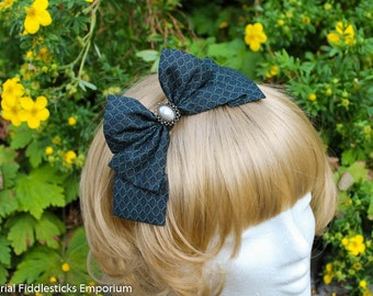 Dark Teal Hair Bow with Pearl Cabochon - Alligator Clip OR Headband - Handmade