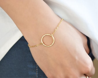 Open Circle Bracelet, Karma Bracelet, 14KT Gold Filled, Sterling Silver, Eternity Circle Bracelet, Bridesmaid Gift