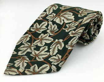 Vintage 1970s Wide Green Polyester Tie with Brown Leaf Pattern by Florentino Collection