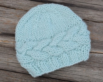 Knit Baby Beanie, Light Blue Horizontal Cable Hat, Knit Baby Hat, Photo Prop, Gift