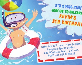 Printed Personalised Pool Party Invitations x10