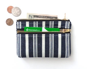 Wallet Coin Purse Double Zipper Pouch Vintage Stripe Blue
