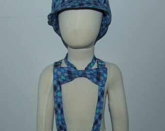 Blue Plaid Newsboy Style Hat, Adjustable Suspenders and Bow Tie