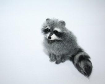 Miniature Needle Felted Raccoon.  Raccoon.  Realistic Raccoon. Felted Animal. Dollhouse Raccoon. Made to Order.