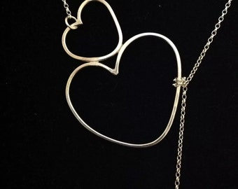 Double heart lariat necklace.