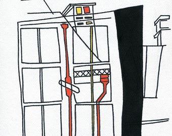 Fenêtre. Gouache et encre de chine sur papier Velin d'Arches grain torchon