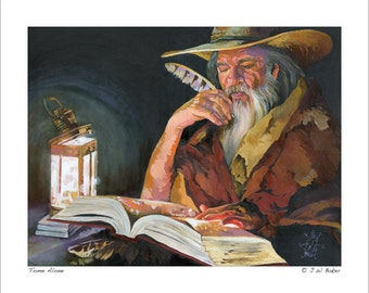 "8x10 Print ""Tome Alone"" - Fantasy Art Illustration Reproduction"