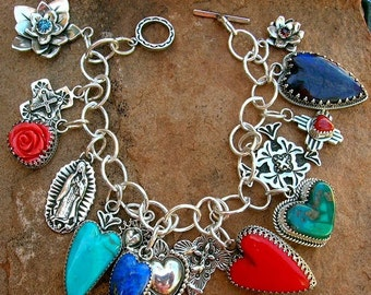 Elvira's Love and Faith Southwestern Charm Bracelet Sterling Silver Jewelry Santa Fe Native Style Heart and Cross Turquoise