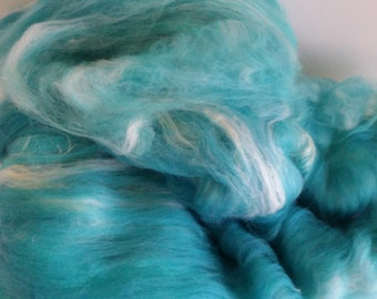 "Fiber Art Batt - ""Crystal Waters"" 3.2 oz, Spinning or Felting - Merino, Bamboo, Silk"