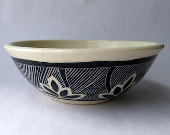 Handmade Stoneware Bowl with Black and White Carved Design