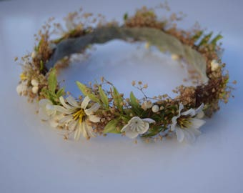 Newborn Wild Daisy & Baby's Breath Flower Crown - Baby's Breath Hair Wreath - Rustic Baby Flower Crown - Baby Photo Prop - Baby Daisy Halo