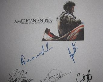 American Sniper Signed film movie Screenplay Script X10 Autographs Bradley Cooper Sienna Miller Clint Eastwood Eric Ladin Luke Grimes Hall