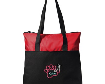 Paw Stethocope Vet Tech Zippered Tote Bag - Monogrammed. Embroidered Veterinarian Tote Bag. Veterinarian Gift. Vet Tech Gift. SM-BG407