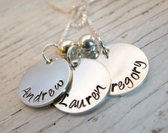 Mother's Necklace, Hand Stamped, Personalized Jewelry, Sterling Silver, 3 Names, Christmas Gift