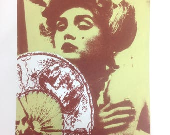 Geisha Girl A2 Limited Edition Hand Pulled Screen Print Green and Brown Framed Art
