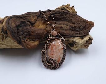 Sunstone Pendant, Heady Wire Wrap, Sunstone Wire Wrapped Pendant, Gemstone Pendant, Wire Wrapped Jewelry, Sunstone Necklace