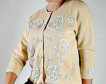 White Beaded Cardigan, Beaded Sweater Jacket, Virgin Wool Jacket, 1950s Cardigan, White Beaded Sweater, 50s Cardigan Sweater, Beaded Sweater