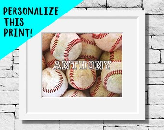 Custom Baseball Photo, Personalized Baseball Picture, Sports, Art, Photo, Personalize, Baseball Gifts, Photography, Decor, Boys Room