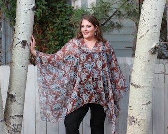 Brown and Blue Paisley Shawl Top - Silk