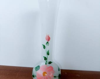 Vintage milk glass lined white vase with handpainted flowers decor / glass / decoration