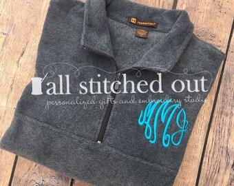 Monogram Quarter Zip Fleece Pullover - Monogrammed Fleece Sweatshirt - Monogram Sweatshirt - Monogram Pullover - Personalized Fleece