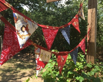 Handmade Cowboy Western Theme, Banner, Bunting, Photo Prop, Party Flags 12 Flags