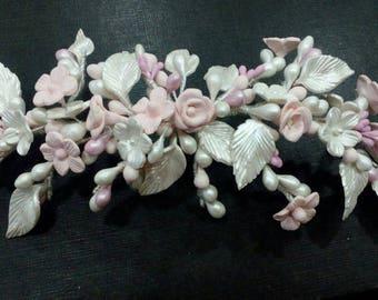 Cold porcelain comb, bridal comb, veil comb.