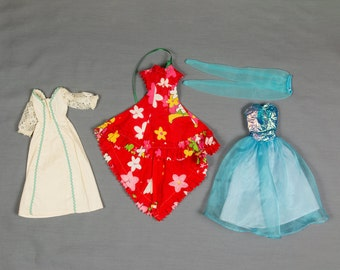 Barbie fashion clothes, 3 outfits, Satin and net dresss with shiny bustier top and tights, Peasant, hippie style long dress, Hawaiian dress
