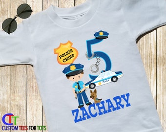 Policeman Shirt - Police Big Number Birthday Shirt - Police Boy Personalized with Name - Cop Birthday Shirt - Police Chief Shirt