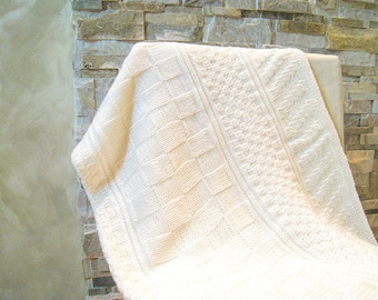 Baby blanket knitting pattern of purl and knit design- instant download