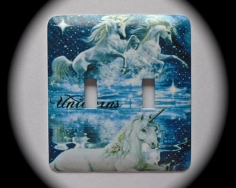 METAL Decorative Double Switch Plate ~ Unicorns, Light Switchplate, Switch Plate Cover, Home Decor
