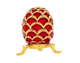 Red Diamante Faberge Style Egg Trinket Box, Decorated Egg Collectable Ornament - 6cm