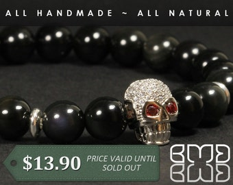 8mm Natural Black Obsidian Beads with High Quality Micro Pave Cubic Zirconia Platinum Plated Skull Beaded Bracelet for Men's, Women, Unisex