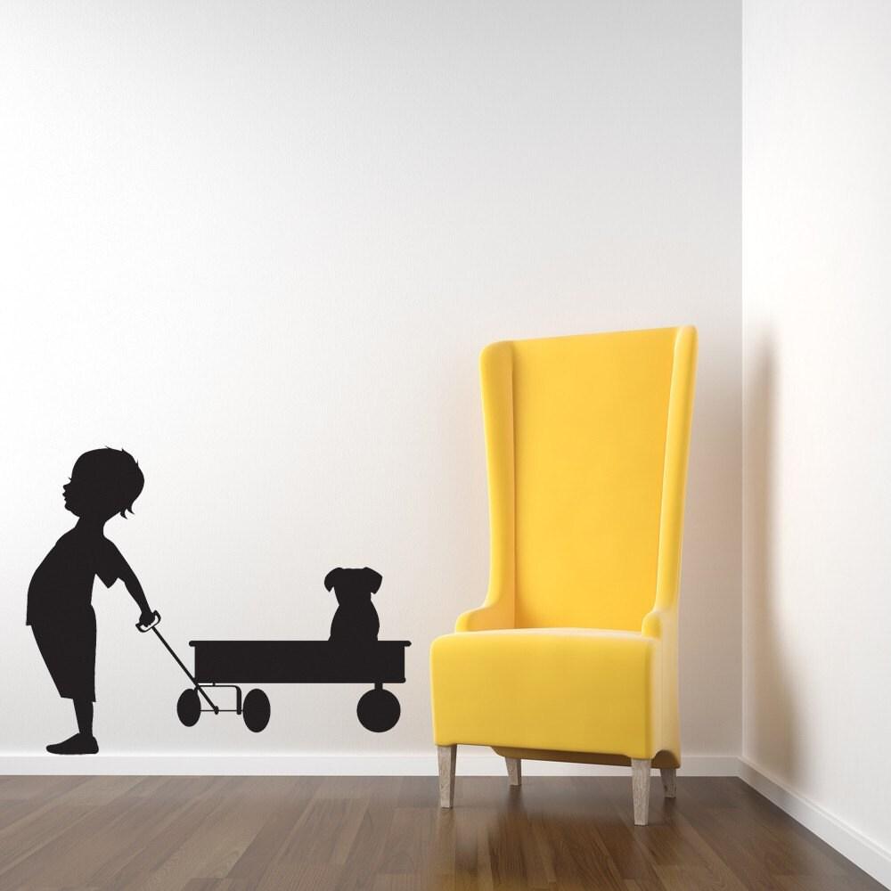 Boy Red Wagon Puppy Decal Dog Wall Art Toddler Wall Art