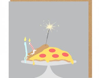 Pizza, sparklers and candles Birthday Greeting Card