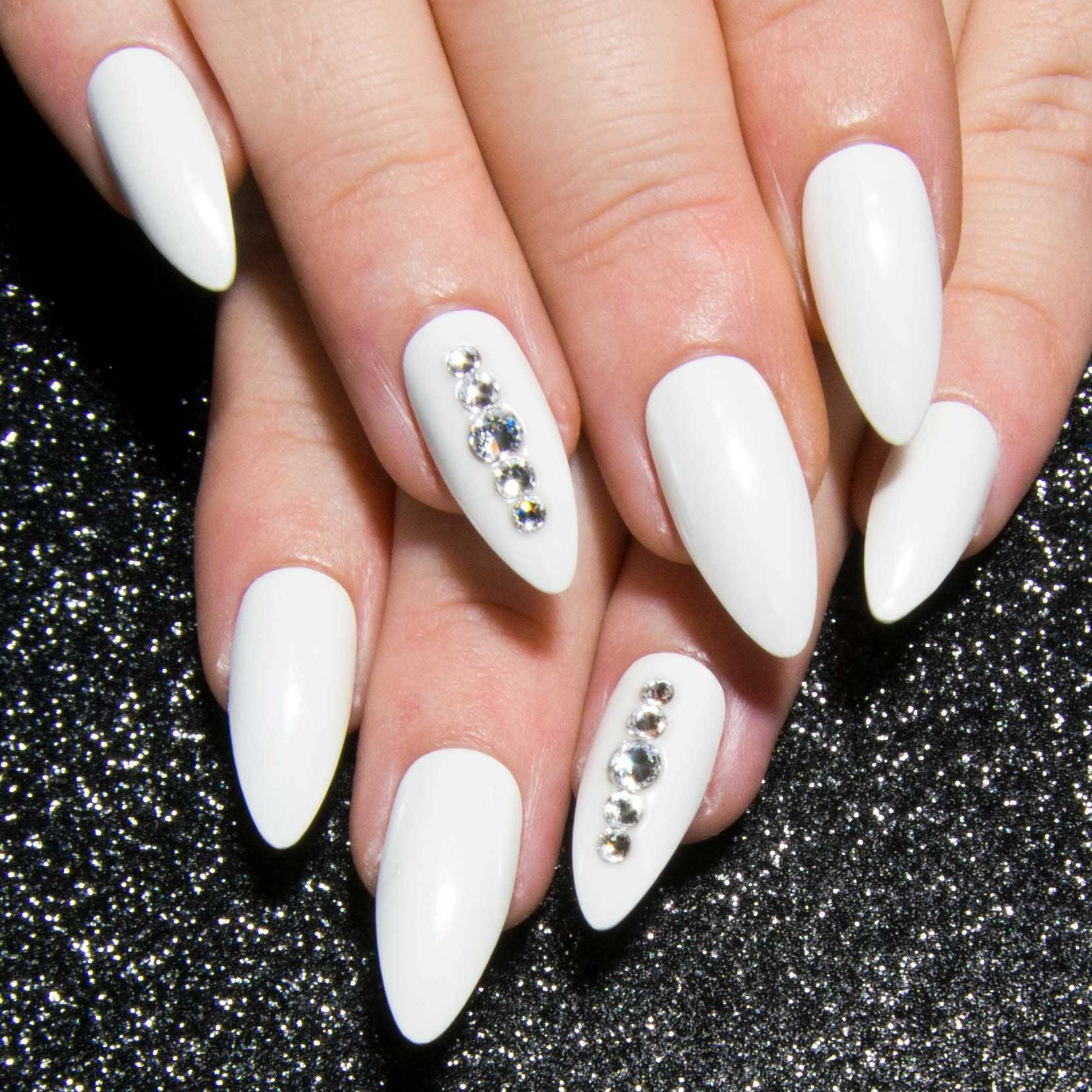 White Fake Nails - Chrome Press On Nails - Bridal Nails - Almond ...
