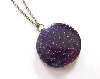 Celestial Locket, Constellation Locket Necklace, Night Sky Locket, Unisex Locket, Star Locket Pendant, Round Brass Locket, Celestial Jewelry
