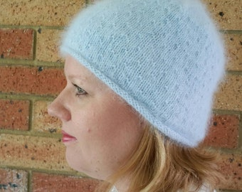 Blue Angora Hat, Cosy Winter Beanie with turned up edge featuring delicate seed stitch pattern, Mother's Day Gift idea