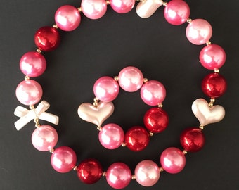 Pink and Red Necklace,Pink and Red Chunky Necklace,Valentines Chunky Necklace,Pink and Red Bubblegum necklace,Pink necklace,Red necklace